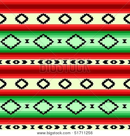 Mexican blanket geometric striped seamless pattern in green and red, vector