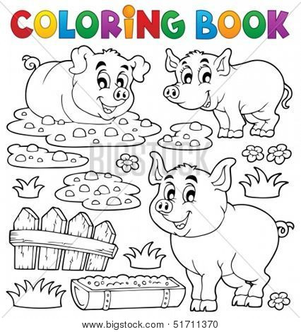 Coloring book pig theme 1 - eps10 vector illustration.