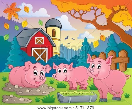 Pig theme image 2 - eps10 vector illustration.