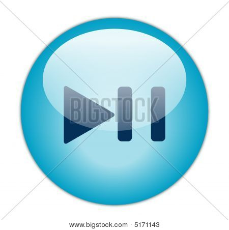 Glassy Blue Play Pause Icon