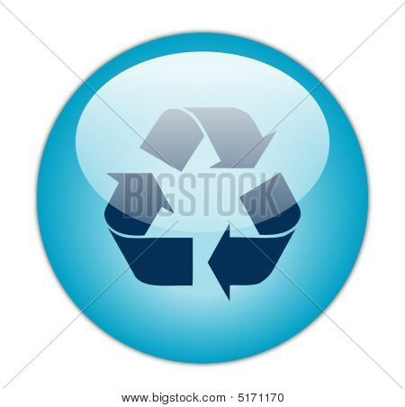 Glassy Blue Recycle Dark Fill Icon