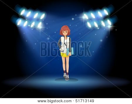 Illustration of a girl with a binder standing in the middle of the stage