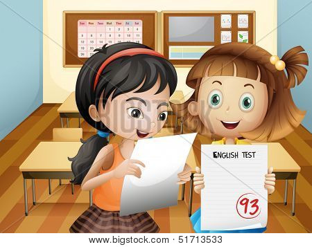 Illustration of the two girls holding their exam results