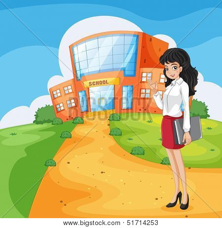 Illustration of a teacher going to the school