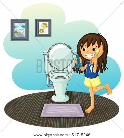 Illustration of a girl in the comfort room on a white background