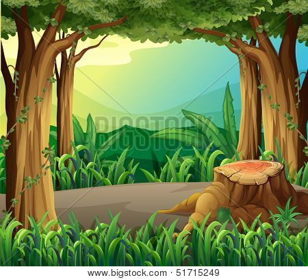 Illustration of an illegal logging at the forest
