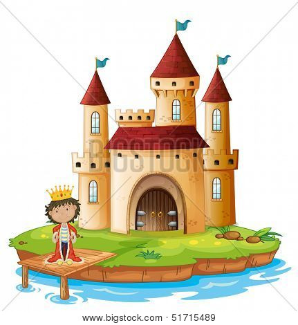 Illustration of a king outside his castle on a white background