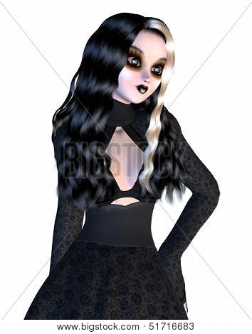 Girl In Black Gothic Dress