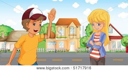 Illustration of a boy and a girl talking across the neighborhood