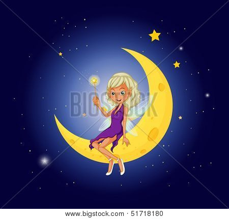 Illustration of a fairy holding a wand sitting at the moon