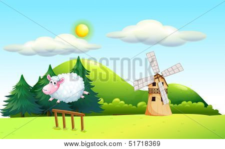 Illustration of a sheep jumping at the fence with a windmill at the back