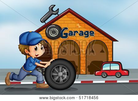 Illustration of a young man pushing the tire in front of the garage