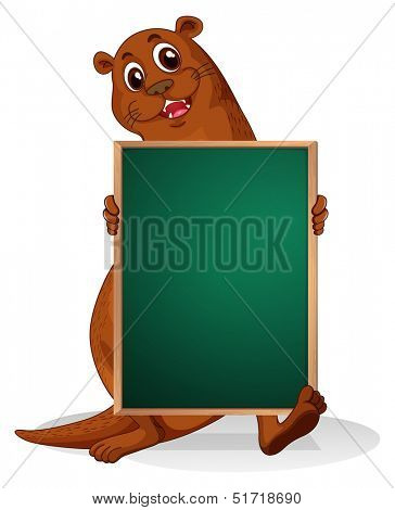 Illustration of a sealion holding an empty blackboard on a white background
