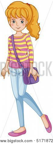 Illustration of a fashionable girl with a purple slingbag on a white background