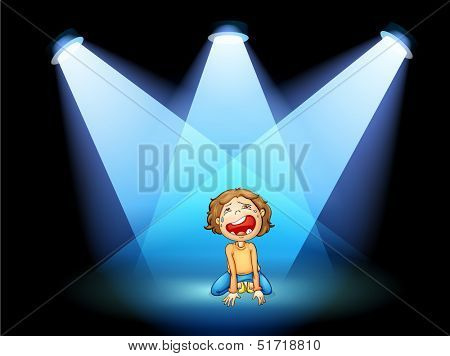 Illustration of a girl crying in the middle of the stage with spotlights