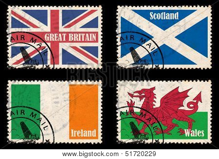 Set Of Stamps With Flags From The British Isles