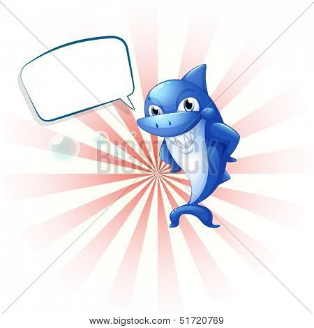 Illustration of a smiling shark with an empty callout on a white background