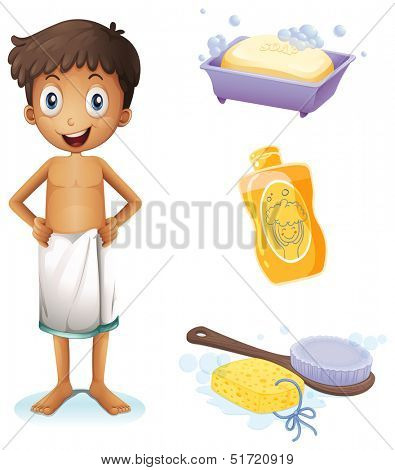 Illustration of a young man taking a bath on a white background