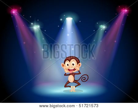 Illustration of a silly monkey at the stage