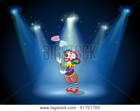 Illustration of a clown performing on a stage under the spotlights