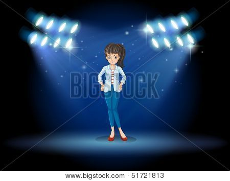 Illustration of a girl at the stage