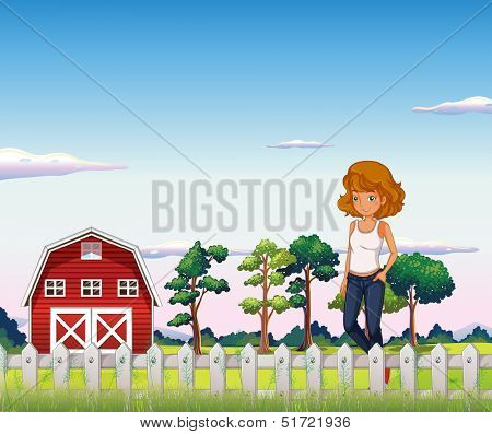 Illustration of a girl standing near the red barnhouse inside the fence