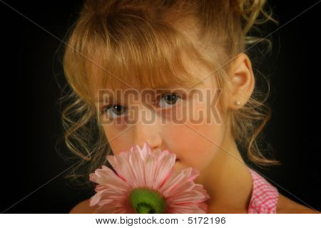Blonde Girl With Flower
