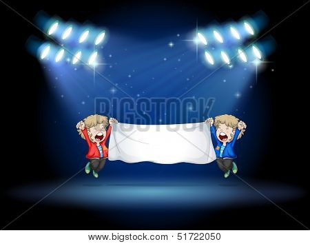 Illustration of the two boys holding a banner under the spotlights