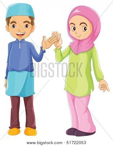 Illustration of a male and a female muslim on a white background