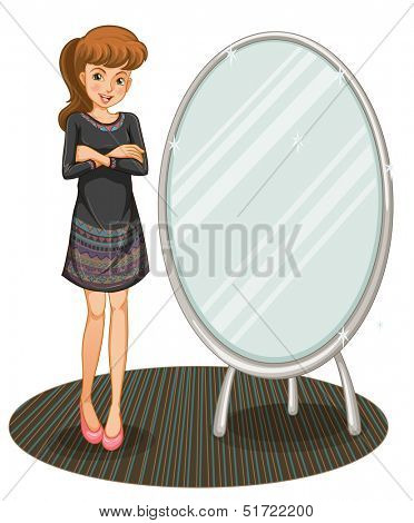 Illustration of a woman beaside a mirror on a white background
