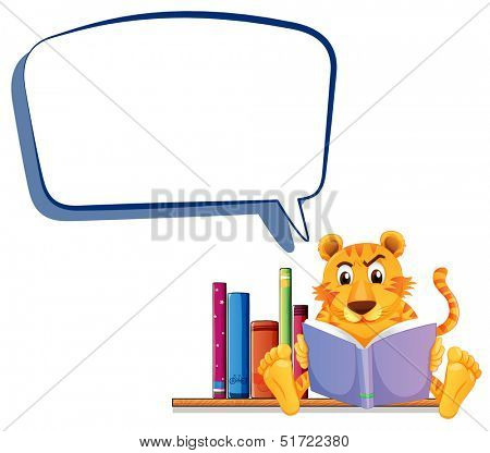 Illustration of a tiger reading with an empty callout on a white background