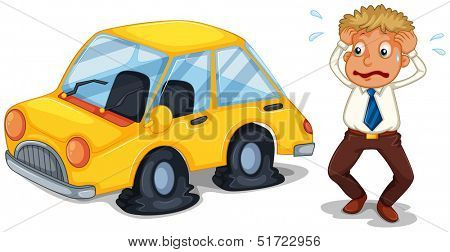 Illustration of a worried man beside a car with flat tires on a white background