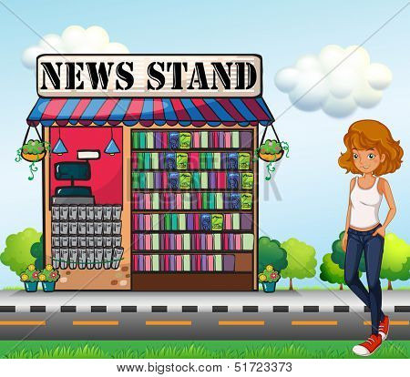 Illustration of a lady standing beside the news stand