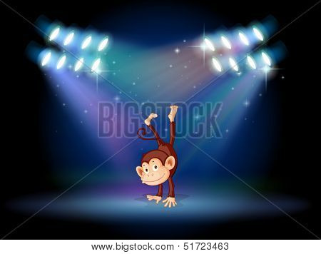 Illustration of a monkey doing a handstand in the middle of the stage