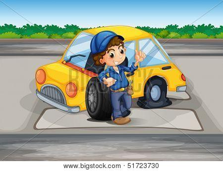 Illustration of a boy reparing the damaged car