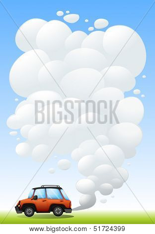 Illustration of the huge smoke from the car