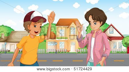 Illustration of the two boys meeting across the big houses at the road