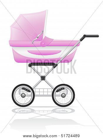 Babys Perambulator Pink Vector Illustration