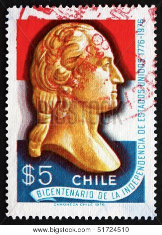 Postage Stamp Chile 1976 George Washington, Bust