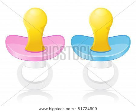 Babys Pacifier Pink And Blue Vector Illustration