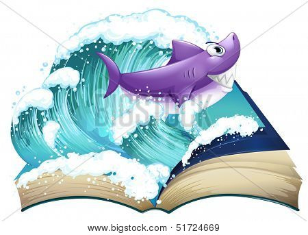 Illustration of a storybook with a shark and a big wave on a white background