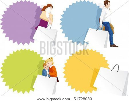 Promo badges set - fashionable man, woman, kids shopping. Copy space on shopping bags and sticker. Vector illustration