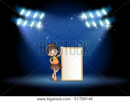 Illustration of a stage with a young girl holding an empty signboard