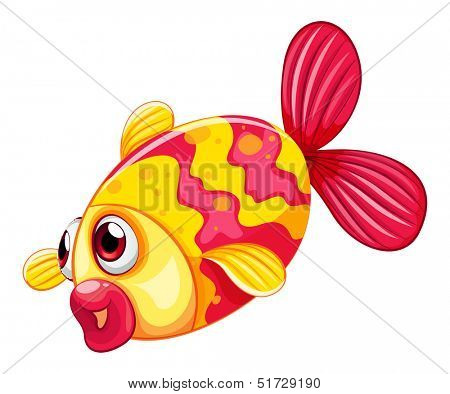 Illustration of a pouty fish on a white background