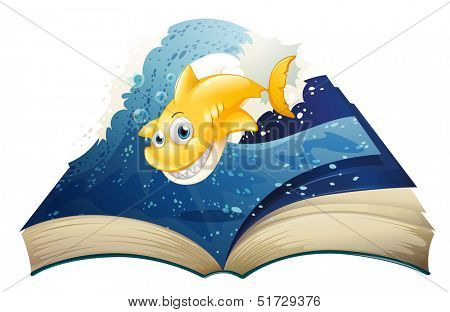 Illustration of an open storybook with a smiling shark on a white background