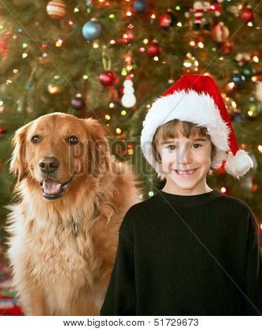 Boy and Dog at Christmas