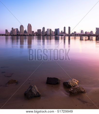 Downtown City of San Diego with Buildings Reflecting in San Diego Bay. San Diego, California USA