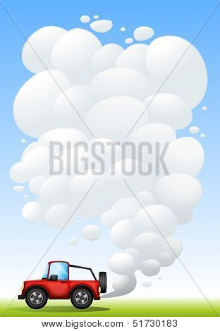 Illustration of a red jeep with smoke