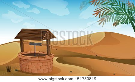 Illustration of a well at the desert