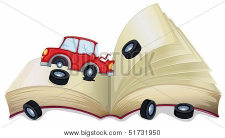Illustration of an open storybook with a broken car on a white background